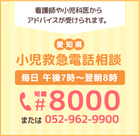 看護師や小児科医からアドバイスが受けられます。愛知県 小児救急電話相談 毎日 午後7時〜翌朝8時 短縮8000 または 052-962-9900